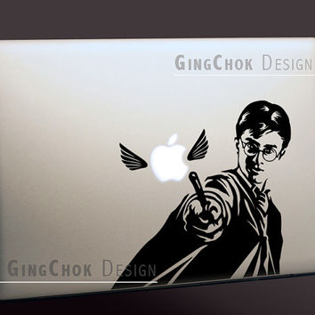 Harry potter silhouette macbook decal mac black vinyl sticker laptop decal macbook