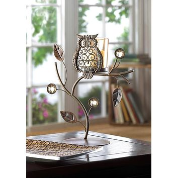 Perched Wise Owl Iron Candle Stand