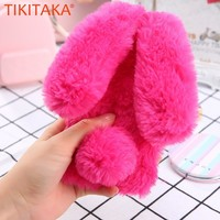 TIKITAKA Cute Rabbit Warm Plush Phone Case For iphone XR XS Max Fashion Plain Fur Case For iphone 5 6s 7 8 Plus X XS Back Cover
