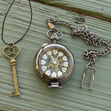 Steampunk  Victoriana DARK MAGIC pocket watch key Necklace Victorian locket pendant charm ---- SET