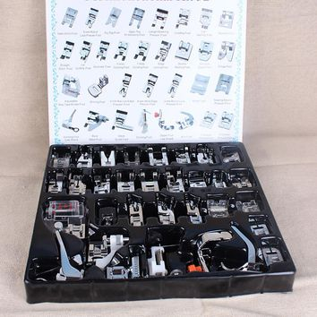 New 32pcs Mini Domestic Sewing Machine Braiding Blind Stitch Darning Presser Foot Feet Kit Set For Brother Singer Janome(front )
