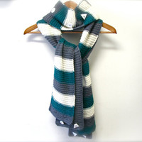 Hand Knit Set of 2 Scarves  - White+Gray+Teal&Gray