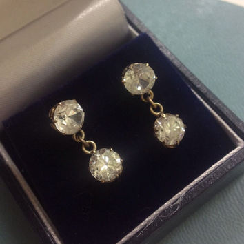 Antique 9ct Gold Diamond Paste Earrings Wedding Bridal Earrings Drop Earrings