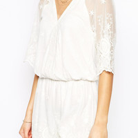 White V-Neck Sheer Sleeve with Floral Lace Overlay Romper