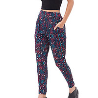 FOREVER 21 Tribal Printed Gauze Trousers Black/Teal