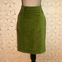 Lime Green Skirt Velvet Skirt High Waist Midi Pencil Skirt Short Skirt Midi Skirt Retro Hipster Boden Size 4 Skirt Small Womens Clothing