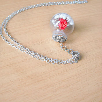 Valentine's day glass bubble necklace with red rose miniature and white pearls all modeled by hand in cold porcelain, 30 cm long, gift idea