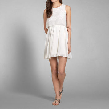 Lace Pleated Tier Dress