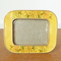 Small vintage yellow enamel floral picture frame by Bucklers or Bowon