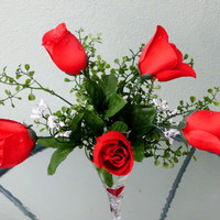 Silk Floral Arrangement, Valentine's Day Roses, Red Roses, Decorative Vase (V3)
