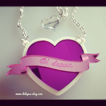 RIBBON HEART name necklace laser cut by didepux on Etsy