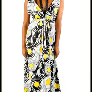 Women's Yellow Black & White Geometric Print by OneKindCouture