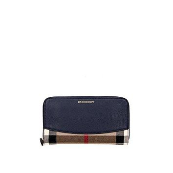Burberry Women's House Check Zip Around Wallet Blue