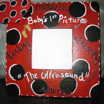 "Baby's First Photo ""the ultrasound"" Photo Frame In Red & Black"