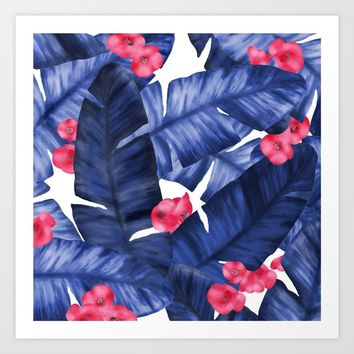 Tropical Banana Leaves With Flower Pattern Art Print by oursunnycdays