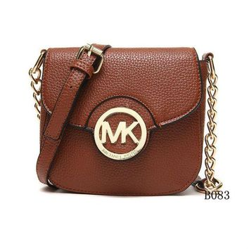 DCCK Michael Kors MK Leather Chain Crossbody Shoulder Bag Satchel COFFEE