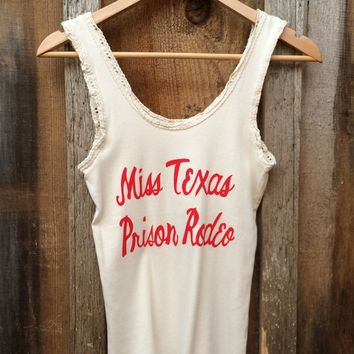 Miss Texas Prison Rodeo, Lace Tank White/Red | Bandit Brand General Store