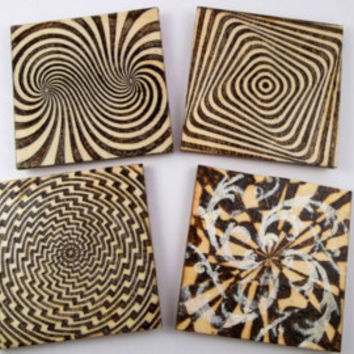 Opitcal Illusion, Wood Coasters, Wooden Coasters, Wood Burning, Pyrography, Modern Decor, House Warming Gift, Wood Burned Coasters, Design