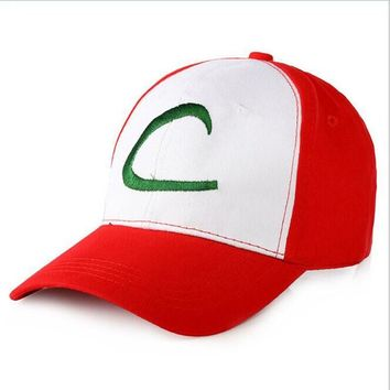 2016 New Adult Men And Women Snapback Baseball Caps Pokemon Pokemon Elf C Ash Strange Top Hat Cartoon hat pocket