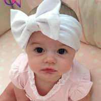 New Fashion Baby Solid Cotton Hair Bow