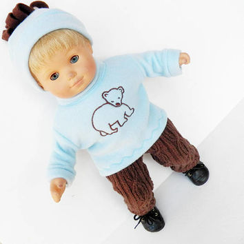 bitty baby clothes, boy, girl, or 15 inch twin doll,FALL, blue embroidered bear sweatshirt, hat, sweater pants, handmade adorabledolldesigns