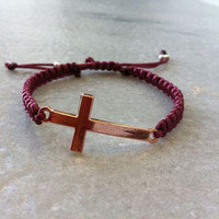 Cross Bracelet, Sideways Cross Bracelet, Rose Gold Tone Cross Macrame Bracelet