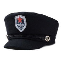 Black Badge Detail Brim Hat
