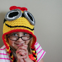Girl Minion Hat, Baby yellow minion hat, baby minion, toddler minion, costume hat, Halloween costume, 5t to preteen sizes available