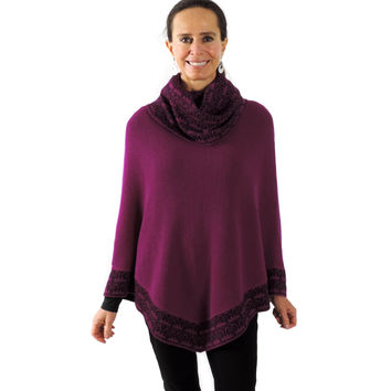 Baby Alpaca Knitted Poncho with Cowl Neck - Magenta