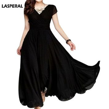 LASPERAL Women Long Bohemian Short Sleeve Dress Fit And Flare Party Ankle Length Dress Female V Neck Beach Vestidos Plus Size