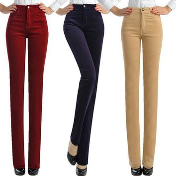 Hot Sale autumn and winter straight jwomen pants velvet  trousers plus size 7xl Corduroy elastic waist women pants