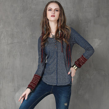 Women Sweater 2015 Yuzi Autumn New Vintage Knitting Pullover Long Sleeve O-Neck Button Patchwork Sweaters Women B9566 Pullovers