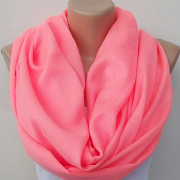 Neon Pink Infinity Scarf Oversized Scarf  Infinity Scarf Pink  Scarf Light Cotton Scarf Wedding Shawl Bridesmaid Gift Women Scarf Shawl