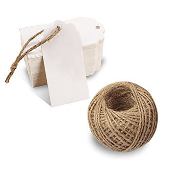 G2PLUS® 100 PCS Paper Gift Tags with String Wedding Rectangle Hang Tags Bonbonniere Favor Gift Tags Price Tags Labels with 30 Meters Jute Twine for Crafts (White)