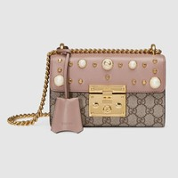 Gucci Padlock studded GG Supreme shoulder bag
