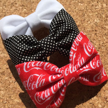 Coca Cola Coke fabric hair bow set from Seaside Sparrow Bows. Hair bows for teens hair bows Hair bow, hair clip hair accessory gift for her