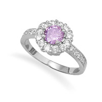 Lovely Lilac Rhodium Plated Brass Cubic Zirconia Ring
