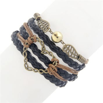 Sunshine MOVIE supernature figure star leather bracelets brown multilayer braided bracelet fashion charm jewelry women men hot