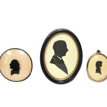 Antique Silhouette Picture Framed Silhouette Miniature Silhouettes Mini Silhouette Portraits - Set of 3