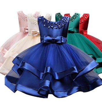 Flower Cake tutu Kids Clothing Elegent hand beading Girls Dresses for Children Princess Party Custumes 3-10 Years
