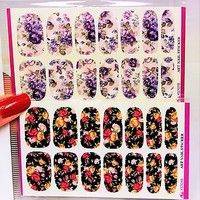 4 Pack Pink Flower Nail wrap, Purple Nail Art,  Black Lace Water Nail Decals,