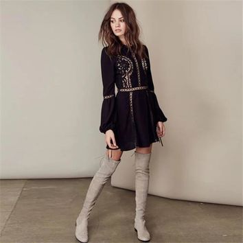 free people fashion solid color lace hook flowers hollow long sleeve mini dress