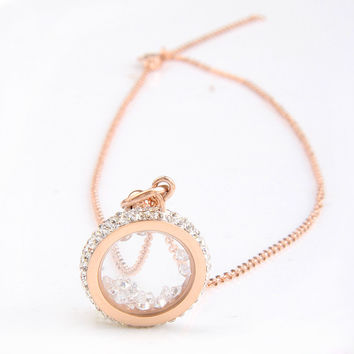 Rose Gold Plated 316L Stainless Steel CZ Crystal Round Pendant Necklace Stainless Steel Fashion Jewelry