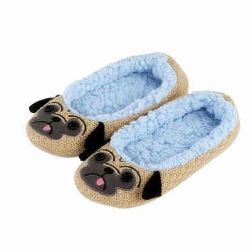 Ladies Indoor Floor Plush Slippers Home Cotton Animals Embroider Yoga Dance Shoes Pugs&Squirrel&Panda&owl&Mouse Soft Soled Shoes