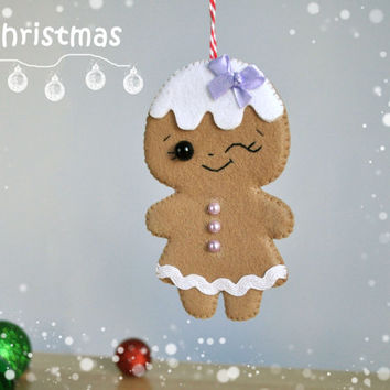 Christmas ornaments felt Gingerbread felt Christmas ornaments cute Christmas Tree ornament cute Gingerbread decor felt New Years decor