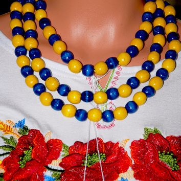 Artisan crafted wood triple beads. Blue and yellow