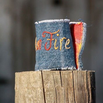 Girl on Fire Hunger Games and Catching Fire Inspired Denim Wrist Cuff - Embroidered - Bracelet- Upcycle - Free Shipping
