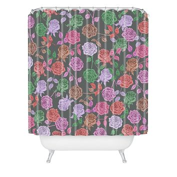 Bianca Green Roses Vintage Shower Curtain