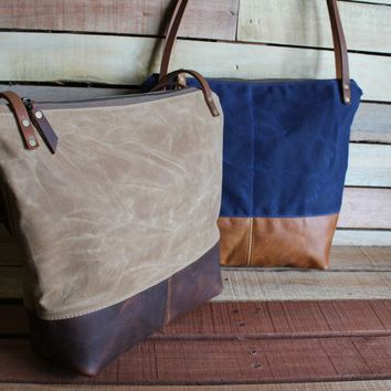 Waxed Canvas with Leather Bottom - Large