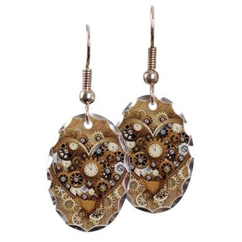 STEAMPUNK HEART LOVE EARRING